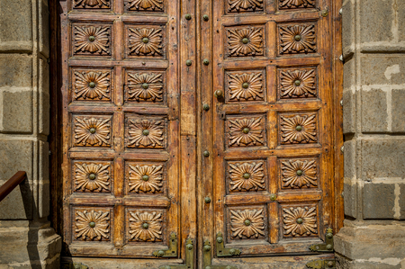 Old wooden doors in the center of Icod old town. Tenerife island, Canarias, Spain