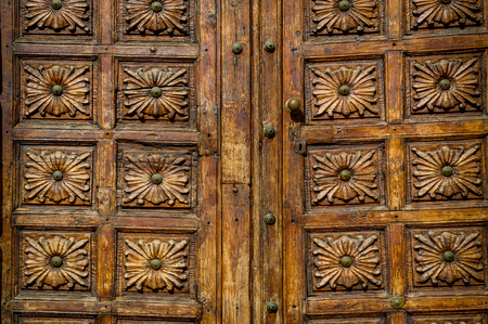 Close view of an old wooden doors in the center of Icod old town. Tenerife island, Canarias, Spain Stock Photo