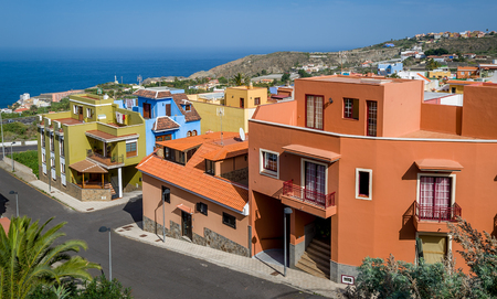 Typical colorful Canary islands locals houses. Icod de los Vinos, Tenerife, Spain.