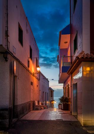 Night illumination at narrow streets of Puero Santiago. Tenerife island, Canarias, Spain.