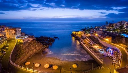 Night view of small beach and ocean shore at Puerto de Santiago. Tenerife islans, Canarias, Spain