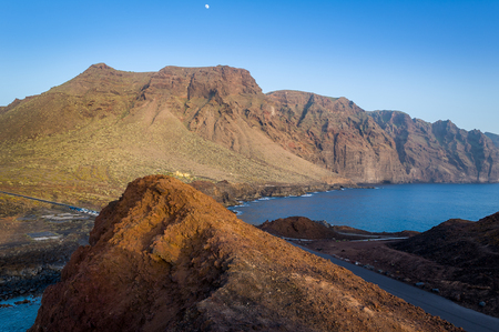 Sunset at Punta de Tena. Cape rocks and Los Gigantes view. Tenerife, Canary islands, Spain.