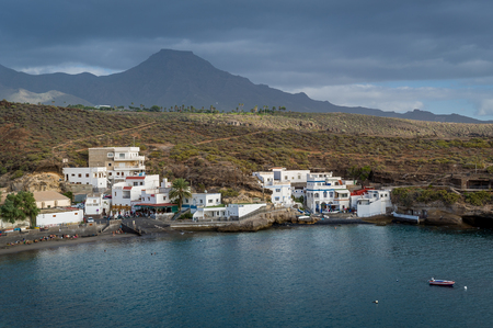 El Puertito fishing village and beautifel small bay with sand beach. Tenerife, Canary islands. Stock Photo