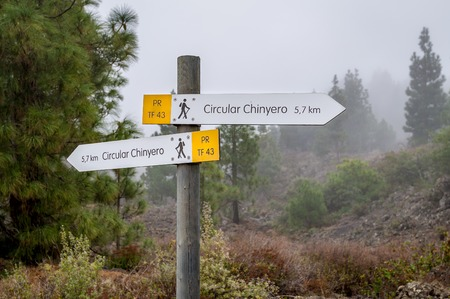 Chinyero volvano circular hiking path sign, Teide national park, Tenerife, Spain.