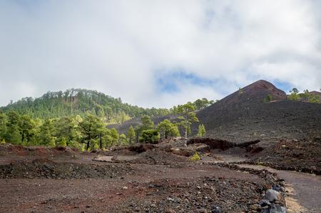 Black volcanic sand hills at Teide national park. Tenerife island, Spain.