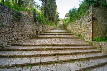 Way to Volterra old town 写真素材
