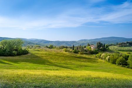 Sunset at Tuscany fields