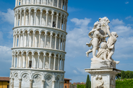 Close view of Pisa Tower and Putti Fountain