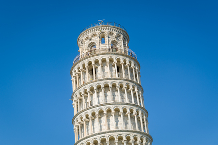 Pisa Tower upper section close view. Toscana famous attraction, Italy.