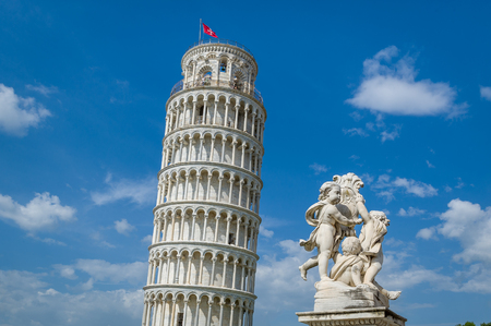 Pisa Tower and Putti Fountain sculpture