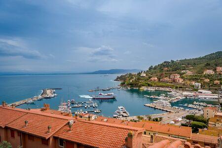 Aerial view of marina Porto Santo Stefano. Toscana, Italy