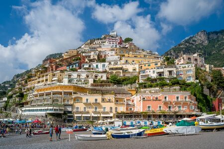 Small fishermans boats at Positano beach. Amalfi coast, Italy.