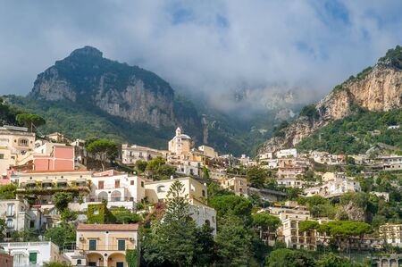 Colorful Positano village - popular toristic attraction. Amalfi coast, Italy.