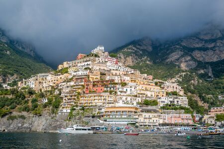 Positano - popular touristic village at Amalfi coast. View from the water. Italy. 版權商用圖片