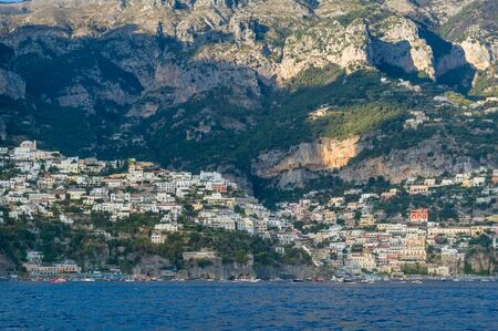 Positano town and mountain slopes landscape. Amalfi coast, Italy