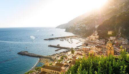 Amalfi at sunset panorama from viewpoint above the old town. Amalfi coast, Italy. 版權商用圖片