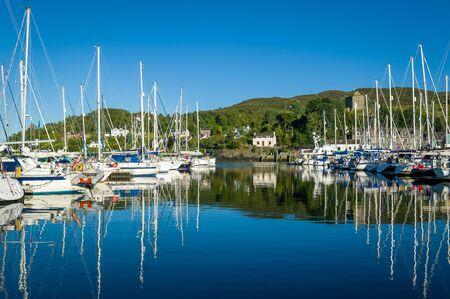 Tarbert marina at perfect summer evening with lots of sailing boats. Hebrides, Scotland. 版權商用圖片