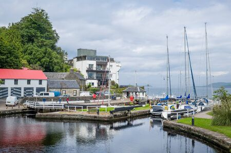 Crinan village, bay and water gates from sea to the channel. Popular sailing route, Scotland