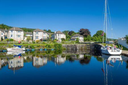 Ardrishaig - first gates of Crinan canal. Perfect summer day, Scotland. Reklamní fotografie
