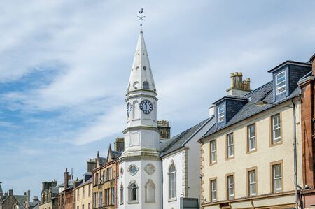 Campbeltown Town Hall and old clock tower close view. Scotland. Stockfoto
