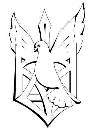 peace stamp: emblem of dove Illustration