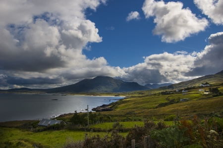 connemara: Rural landscape in Ireland with a beautiful view of the sea Stock Photo