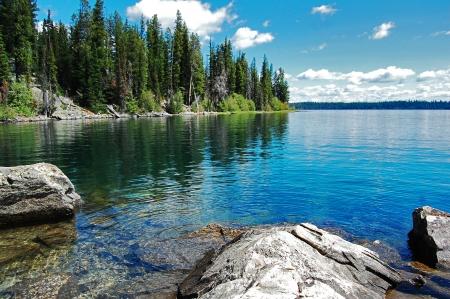 Gran Teton, mooi landschap met het meer Stockfoto