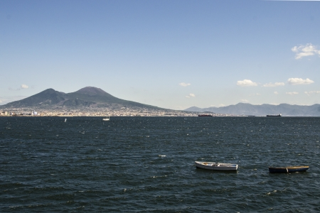 Vesuvio and the sea, Naples, Italy photo