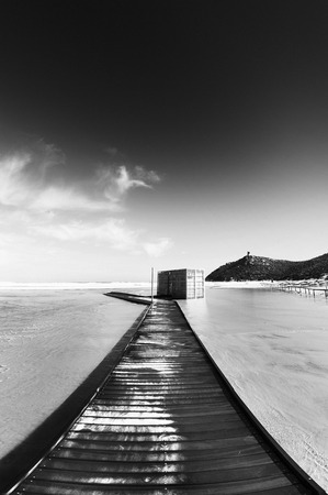Wooden bridge in the beach - vertical black and white - photo
