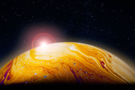 Mars planet with sunrise, colorful soap bubble film photo