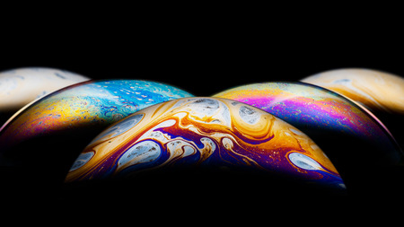 Colorful globes, soap bubbles surfaces photo