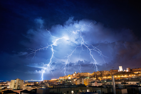 Very visible lightning in the night city