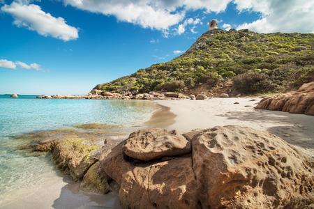 huntington beach: Desert beach with crystal clear sea and rocks