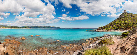 Panoramic desert seascape with crystal clear sea - very high resolution photo