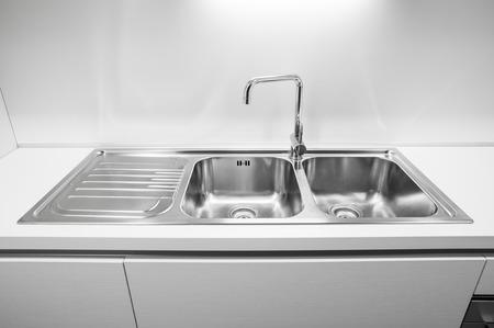 Double bowl stainless steel kitchen sink Archivio Fotografico