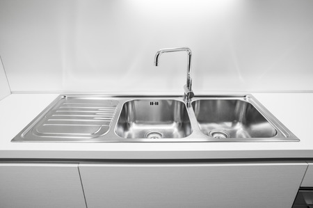 stainless steel kitchen: Double bowl stainless steel kitchen sink Stock Photo