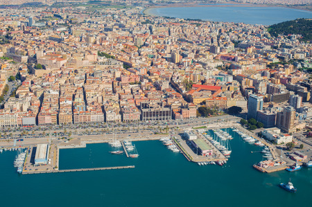 Aerial view of Cagliari harbor photo