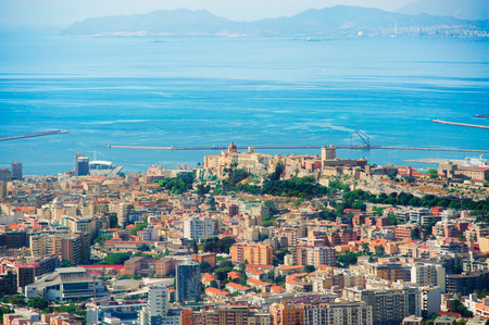 Aerial view of Cagliari with the harbor and castle photo