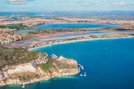 Aerial view of the coast Poetto in Cagliari