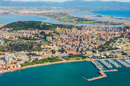 Aerial view of the city of Cagliari 版權商用圖片