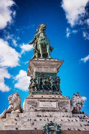emmanuel: Victor Emmanuel II monument in Milan, with clear blue sky