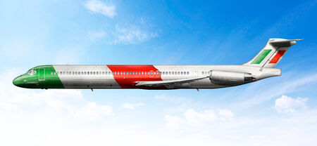 fictional: Airplane profile with fictional livery of the Italian flag