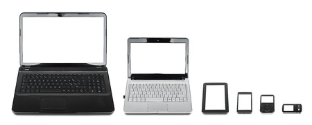 Technology evolution: collection of different kind of mobile devices isolated on white background