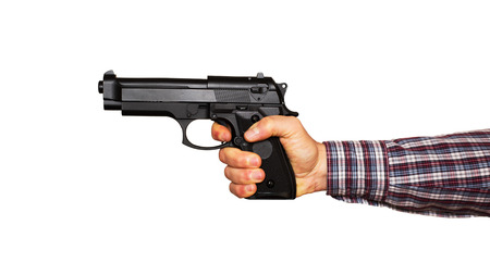 Automatic pistol handled with one hand photo