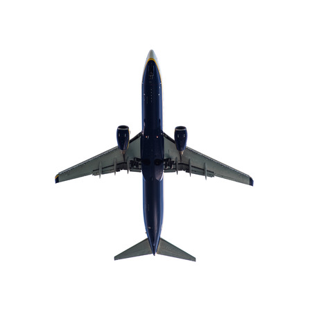 aircraft landing: Passenger Aircraft Landing isolated in White background