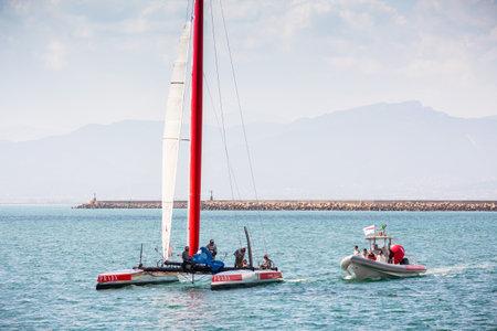america's cup america: Cagliari - 10 March 2015 : Americas Cup Luna Rossa catamaran sails for training session in the Gulf of Cagliari,no special event, no credit or release needed. Editorial