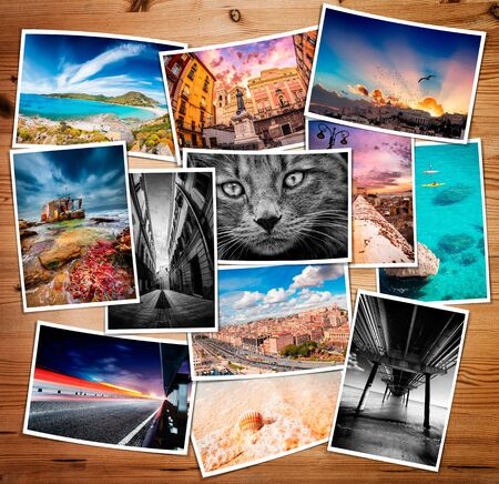 Composite collage of various printed photos photo