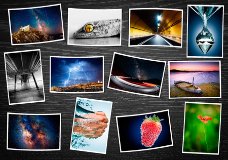 Composite collage of various printed photos Stockfoto