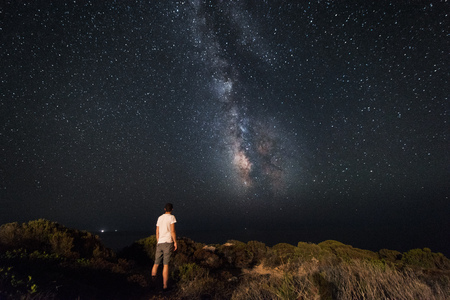 family constellation: Lone man looks with amazement at the night sky with the Milky Way - horizzontal version Stock Photo
