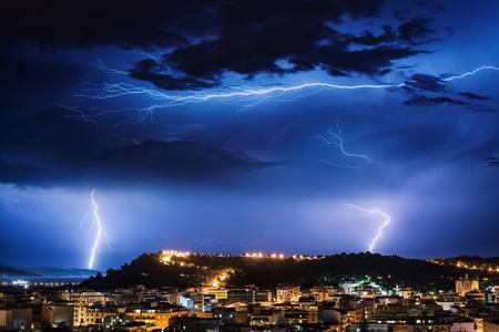 blue lightning: lightning storm over the city